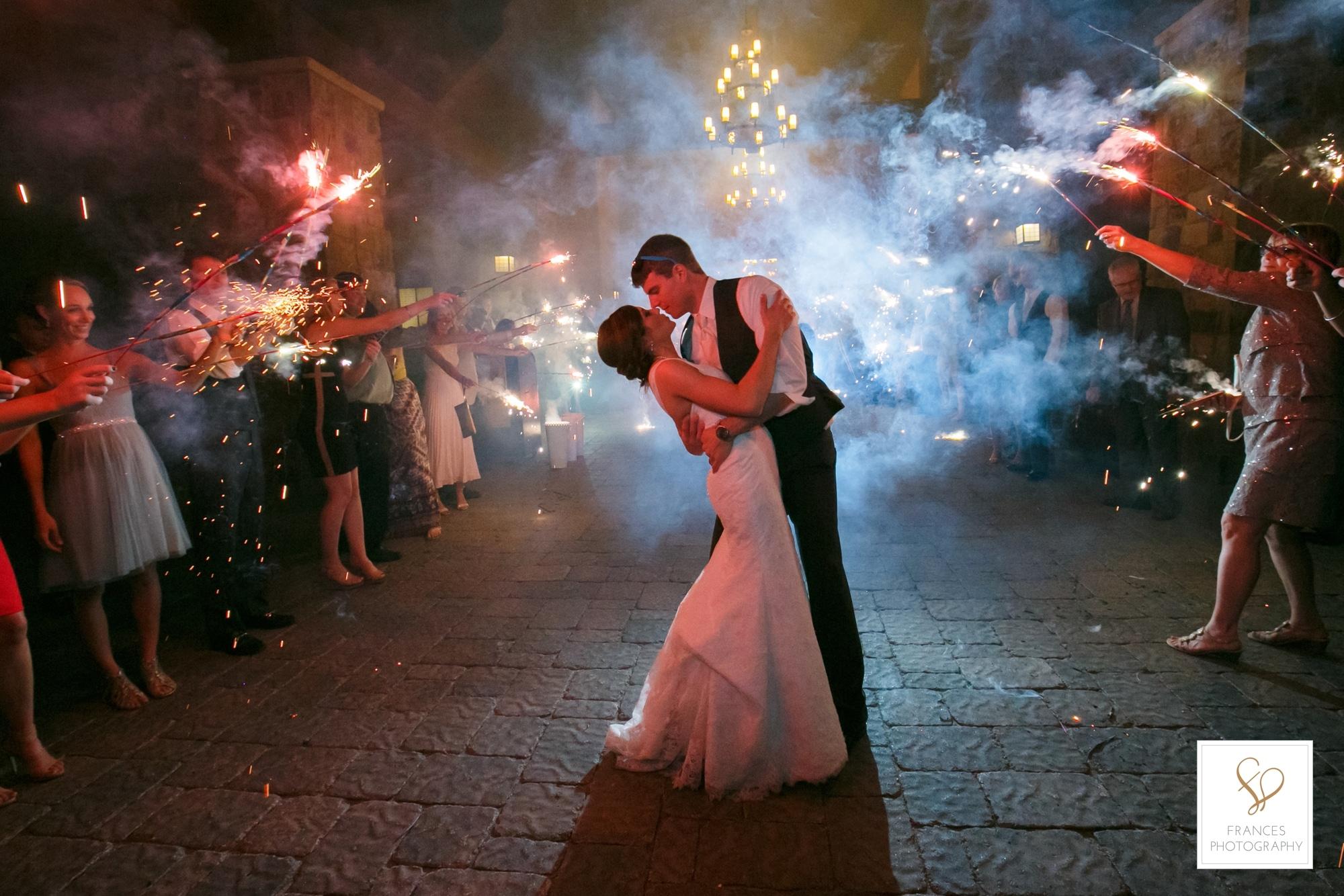 wedding photography colorado golf course sparklers